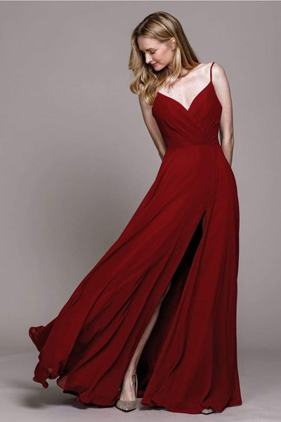 Simple Chiffon Bridesmaids Dress - LAA477 - Burgundy / 2