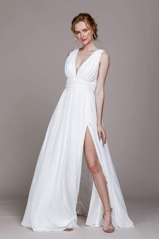 Simple Chiffon Wedding Dress- LAA478B - 2