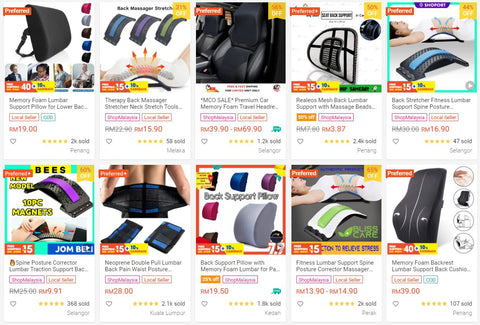 Shopee results page for lumbar support