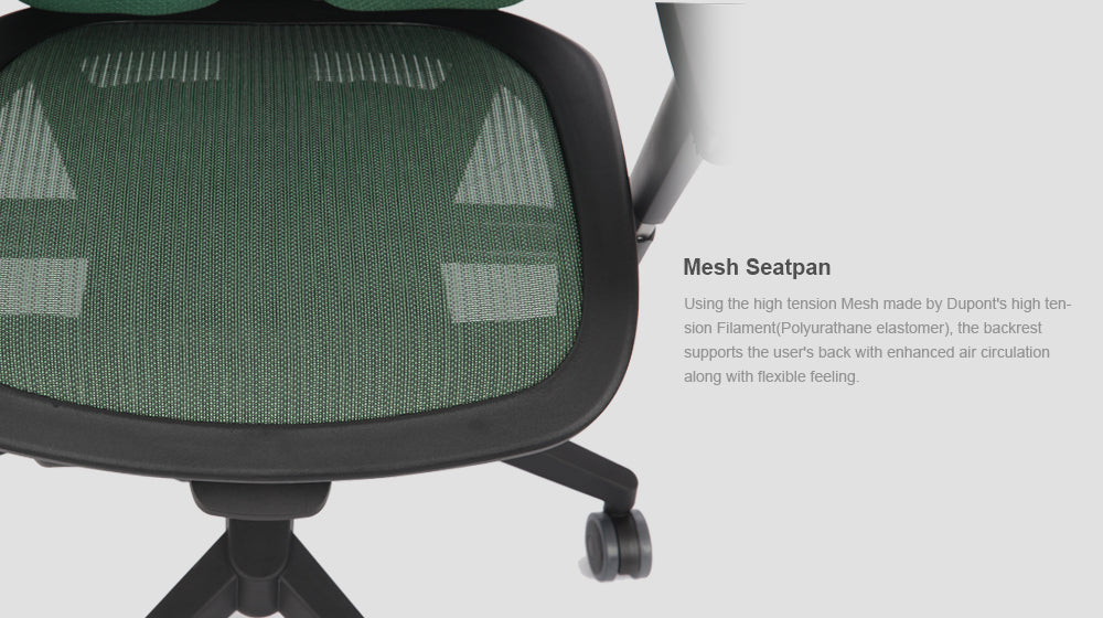 Alpha ergonomic chair features mesh seating