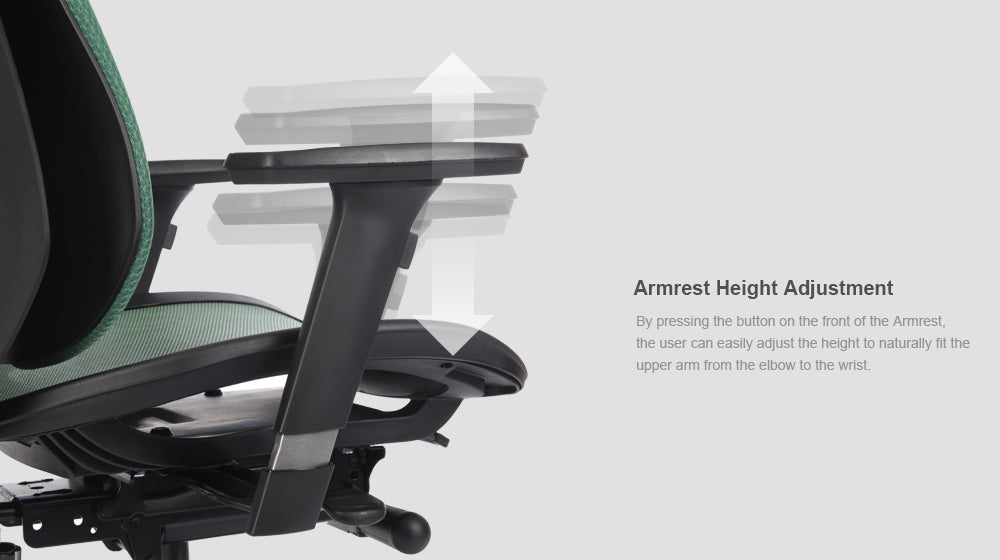 Alpha ergonomic chair features armrest height adjustment