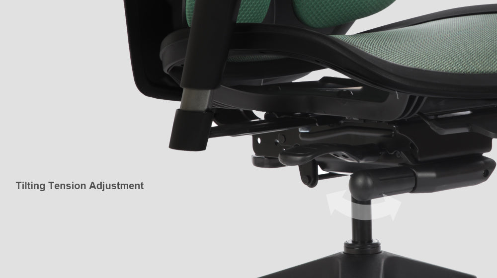 Alpha ergonomic chair features tilting tension adjustment