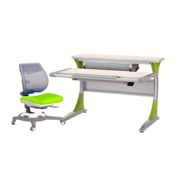 Ergo-Smart Desk Maple Green + Ultra Back Chair Green