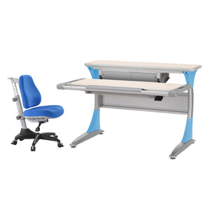 Ergo-Smart Desk Maple Blue + Match Chair Blue