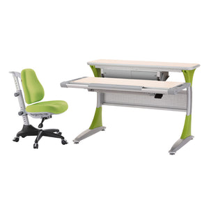 Ergo-Smart Desk Maple Green + Match Chair Green