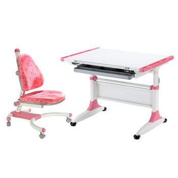 Durer Desk + Enlightening Chair pink set