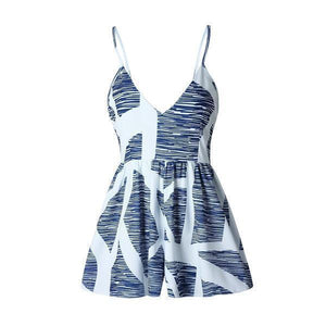 Blue and White Printed Playsuit - Malibu Coastal