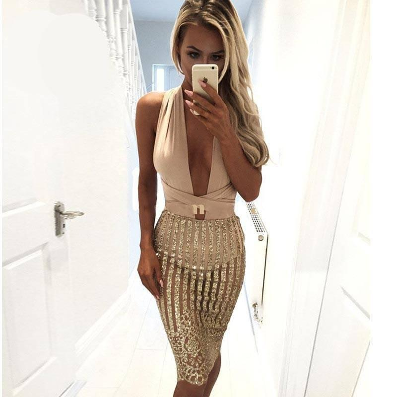 Gold Bandage Dress - Malibu Coastal