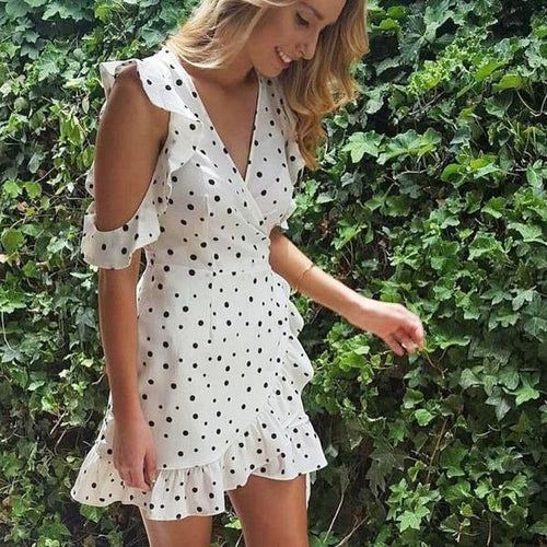 Alexandra Polka Dot Dress - Malibu Coastal