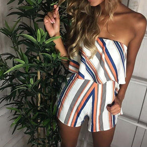 Stylish Strapless Playsuit - Malibu Coastal