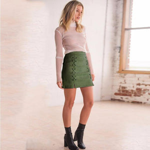 Suede Lace Mini Skirt - Malibu Coastal