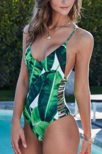 Green Palm Criss Cross Bikini - Malibu Coastal