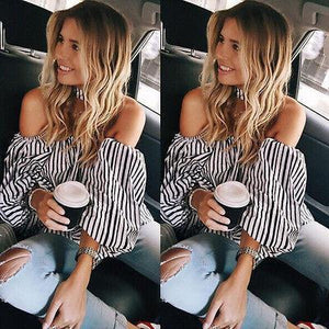 Navy Striped Blouse - Malibu Coastal