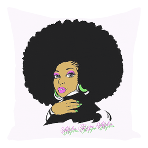 AKA Afro Square Throw Pillows - White