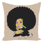 AKA Afro Square Throw Pillows - Cream