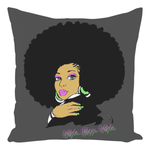 AKA Afro Square Throw Pillows - Smokey Gray