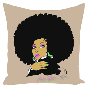 AKA Afro Square Throw Pillows Large - Cream