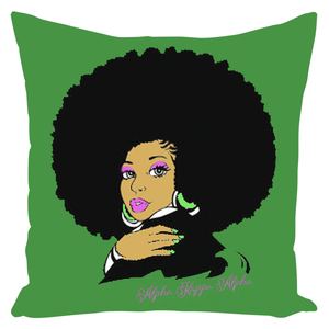 AKA Afro Square Throw Pillows Large - Leaf