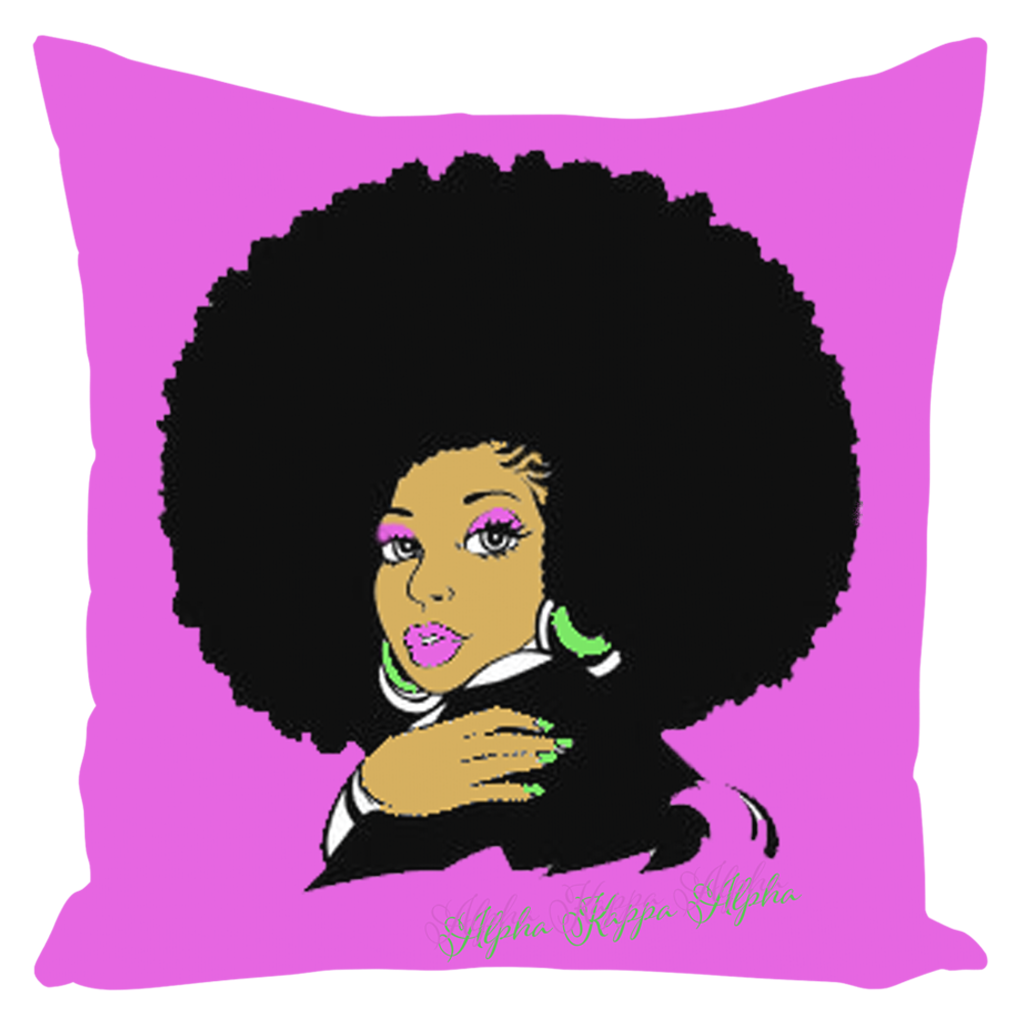 AKA Afro Square Throw Pillows Large - Pink