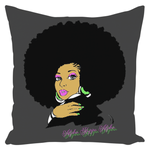 AKA Afro Square Throw Pillows Large - Smokey Gray
