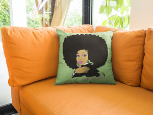 AKA Afro Square Pillows - Leaf
