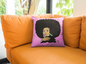 AKA Afro Square Throw Pillows - Pink