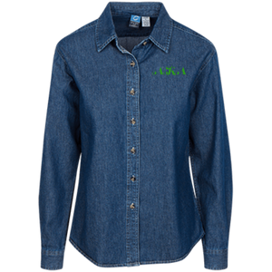 AKA Port Authority Women's LS Denim Shirt Green