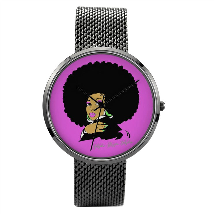AKA Afro Pink 30 Meters Waterproof Quartz Fashion Watch With Casual Stainless Steel Black Band