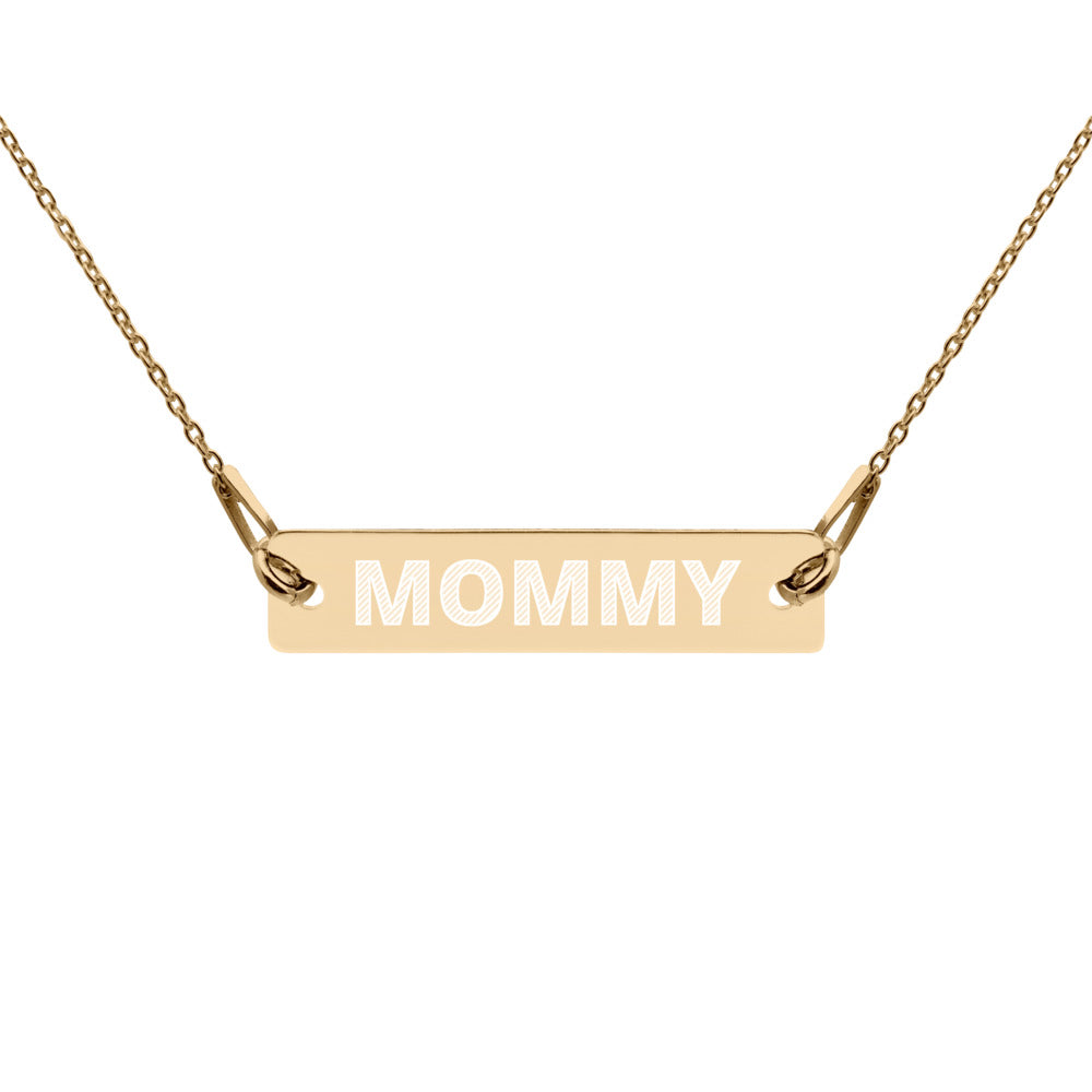 MOMMY Engraved Silver Bar Chain Necklace