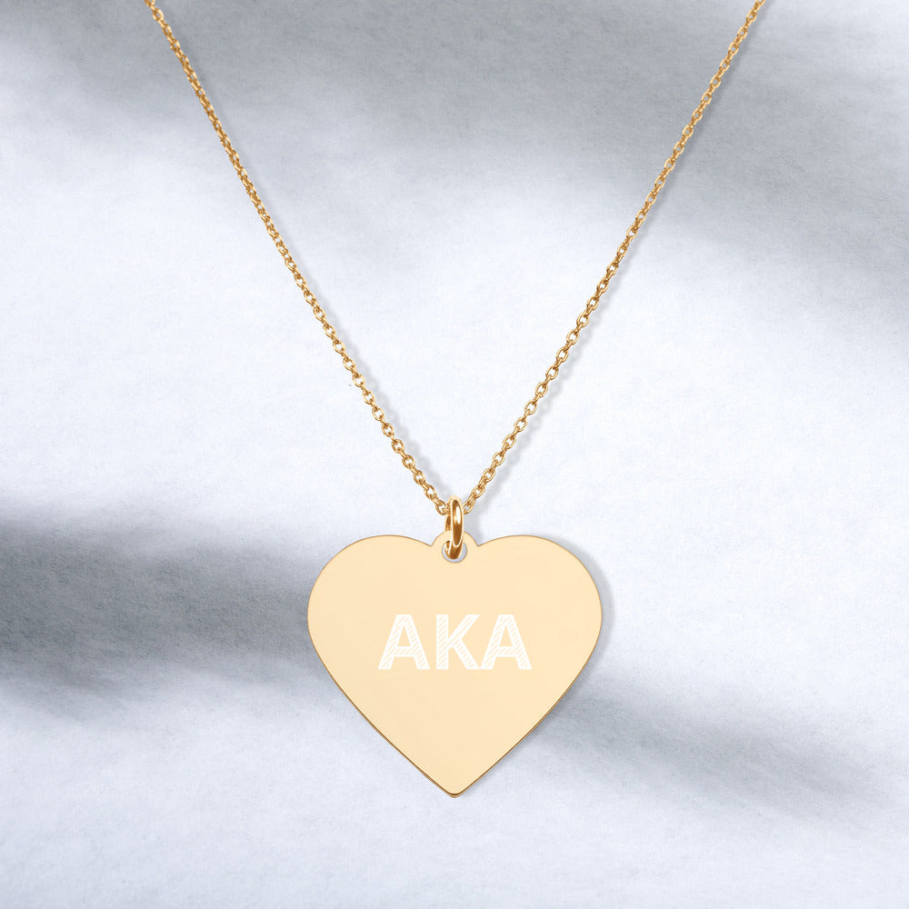 AKA Engraved Silver Heart Necklace