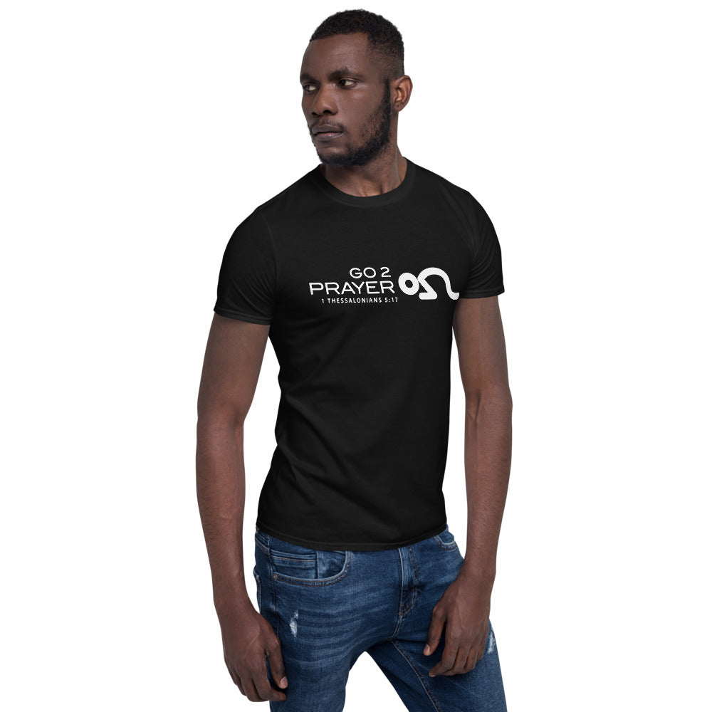 Go 2 Prayer Short-Sleeve Unisex T-Shirt Black Shirt/White Logo