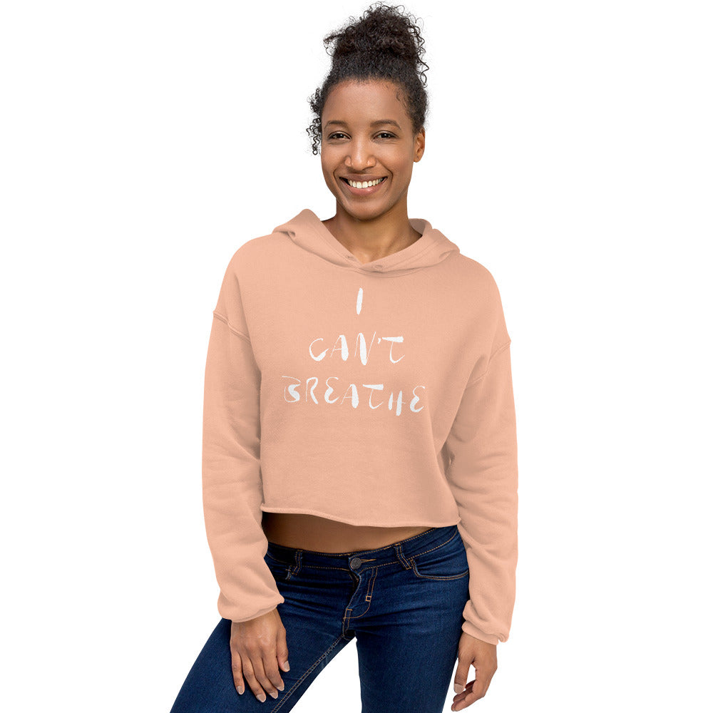 I Can't Breathe Crop Hoodie White