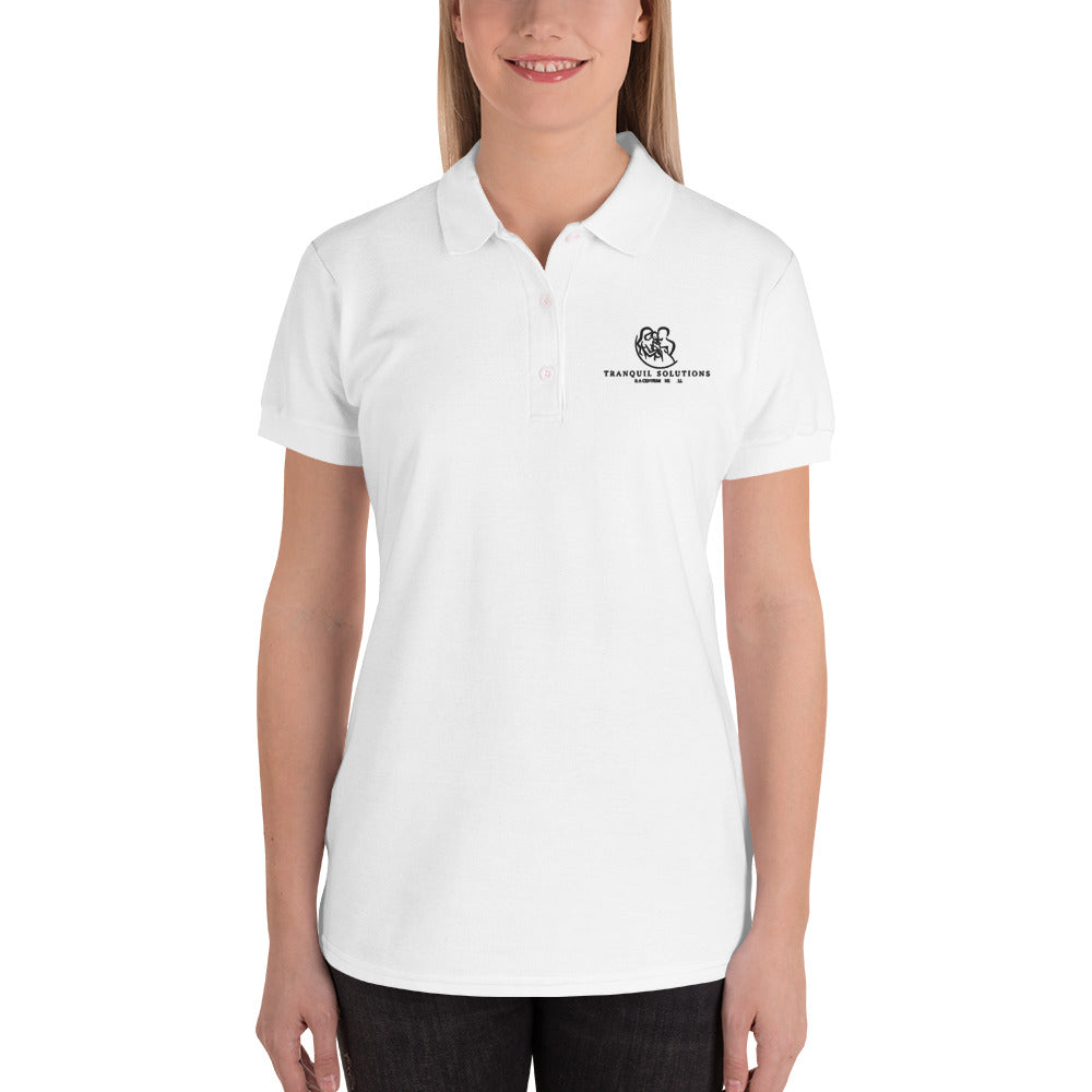 Tranquil Solutions Embroidered Women's Polo Shirt - Black Embroidery