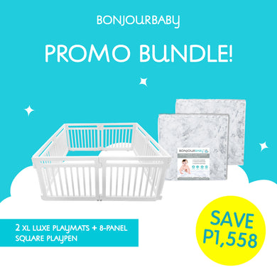 Bundle: 8-Panel Square Playpen & 2 XL Luxe Playmat