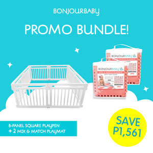 Bundle: 8-Panel Square Playpen & 2 Mix & Match Playmat