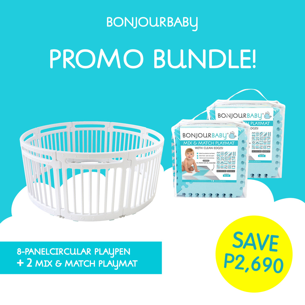 Bundle: Circular Playpen & 2 Mix & Match Playmats