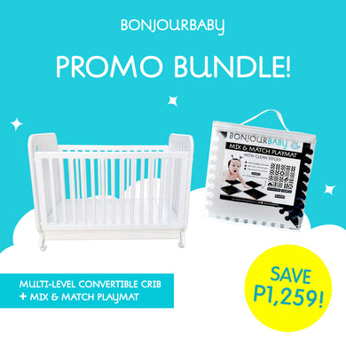 Bundle: Multi-level Convertible Crib & Mix & Match Playmat