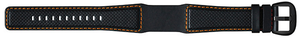 Perforated Leather, Black - Orange Stitching