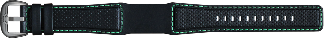 Perforated Leather, Black - Green Stitching