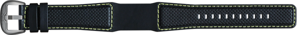 Perforated Leather, Black - Yellow Stitching