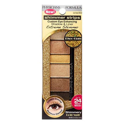 "PHYSICIANS FORMULA ""SHIMMER STRIPS CUSTOM EYE ENHANCING EXTREME SHADOW AND LINER"" GOLD NUDE"
