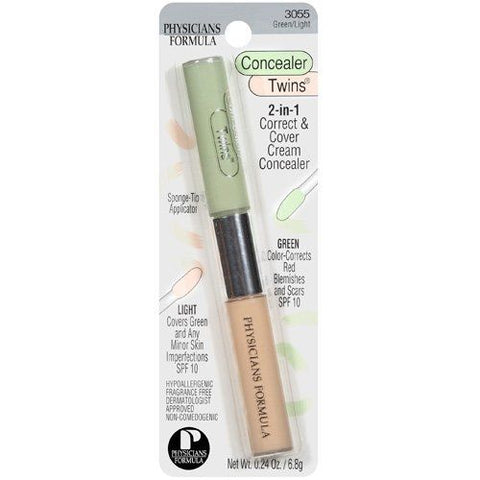 PHYSICIANS FORMULA 2-IN-1 CORRECT AND COVER CREAM UNDER-EYE CONCEALERS TWINS, GREEN/LIGHT