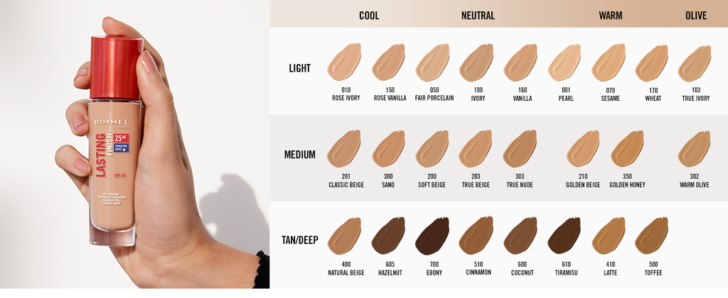 "RIMMEL LONDON ""LASTING FINISH 25H FOUNDATION WITH COMFORT SERUM"""