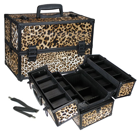 Medium Cheetah Makeup Travel Case