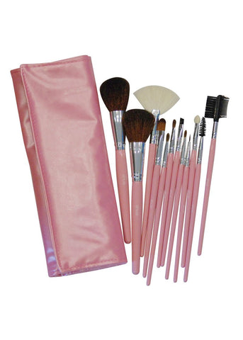 SHUE 12 Pcs Pink Makeup Brush Set