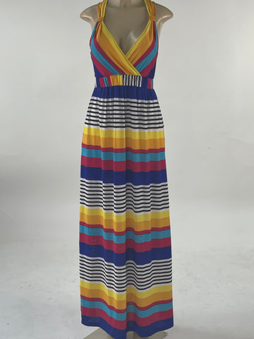 Horizontal Strip V-Neck Dress