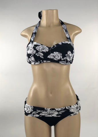 Black  and White Flower Two Piece Swimwear