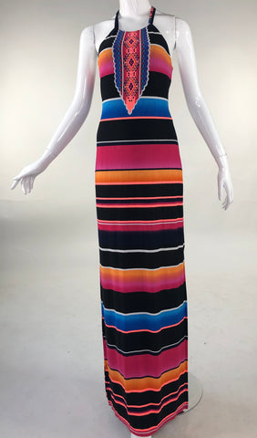 Horizontal Strip Tropical Dress