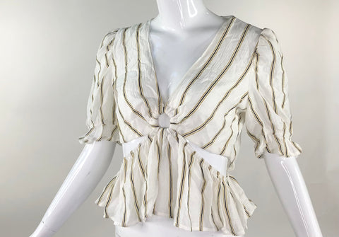 Cream Striped Blouse Top