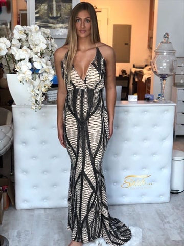 Black and Nude body contouring dress